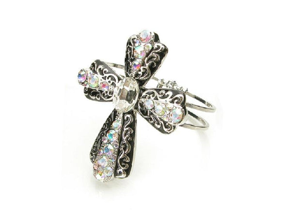 SILVER CROSS BANGLE FILIGREE CLEAR AB STONES ( 6084 3AB ) - Ohmyjewelry.com