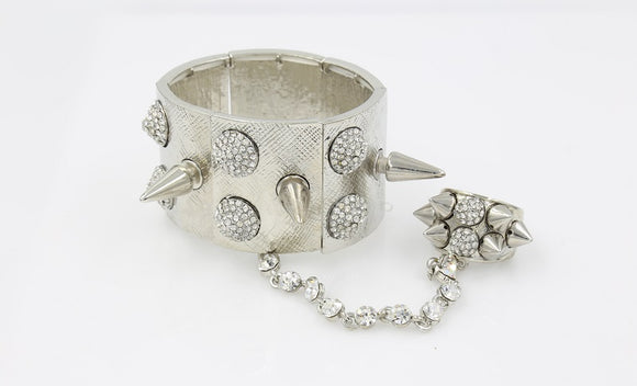 Silver Spikey Stretch Bracelet with Clear Rhinestones Attached to Stretch Ring Hand Chain ( 6858 )