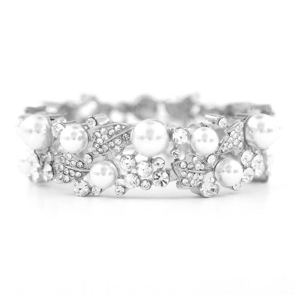 SILVER STRETCH BRACELET WITH CLEAR STONES WHITE PEARLS ( 8840 3 CL )