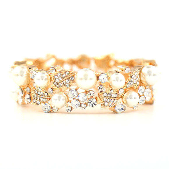 GOLD STRETCH BRACELET WITH CLEAR STONES CREAM PEARLS ( 8840 )