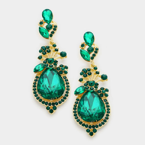 Emerald Green and Gold Floral Pattern Chandelier Earrings ( 1150 )