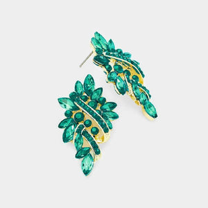 "1.5"" Gold Green Rhinestone Formal Stud Earrings ( 1200 )"