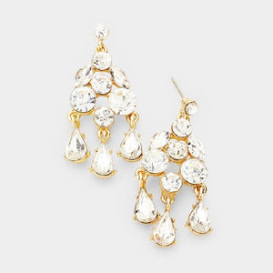 1.75 Gold Clear Triple Drop Chandelier Earrings ( 1244 )