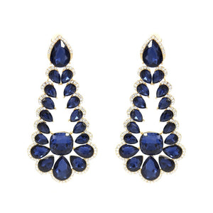 "4"" Gold with Blue and Clear Stone Formal Multi Teardrop CLIP ON Earrings ( 21312 )"