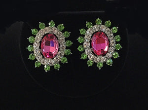 Pink, Green, and Clear Oval Rhinestone Clip On Earrings