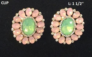 "1.5"" Pink and Green Oval Clip On Earrings ( 23008 )"