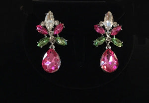 Pink, Green, and Clear Rhinestone Chandelier Style Earrings ( 23095 )