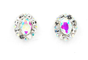 Oval Silver Clear and AB Rhinestone Stud Earrings