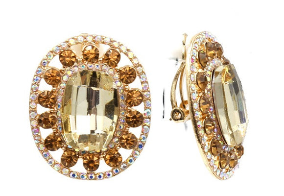 Large Topaz Oval Clip On Earrings