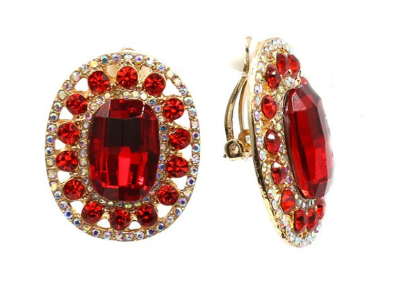 Large Red Oval Clip On Earrings