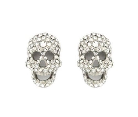 Silver Rhinestone Skull Stud Earrings