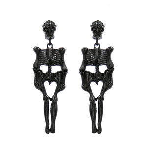 "2.75"" Black Rhinestone Skeleton Dangle Earrings ( 25569 )"