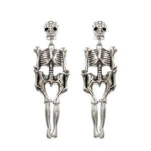 "2.75"" Silver Clear Rhinestone Skeleton Dangle Earrings ( 25569 )"