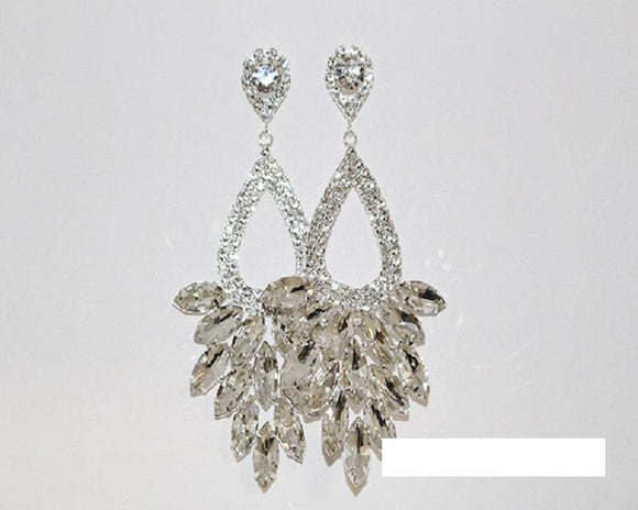 SILVER EARRINGS CLEAR STONES ( 1376 SCRY )