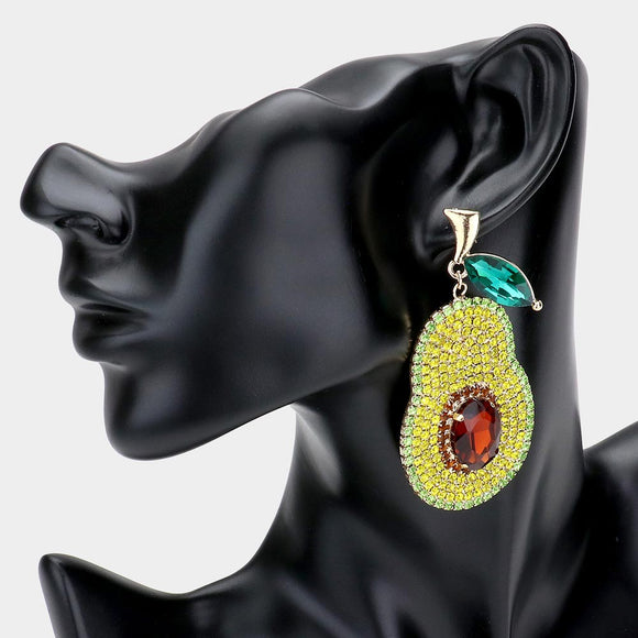 LARGE GOLD AVOCADO EARRINGS YELLOW GREEN STONES ( 2361 GD )
