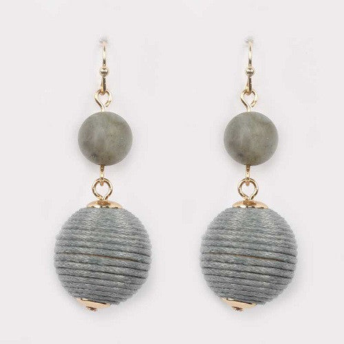 2 Drop Stone and Thread Ball Earrings