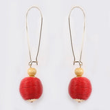 Long Hook Thread Ball Earrings