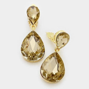 "1 3/4"" Topaz Double Glass Teardrop Clip On Earrings in Gold Setting ( 1152 )"