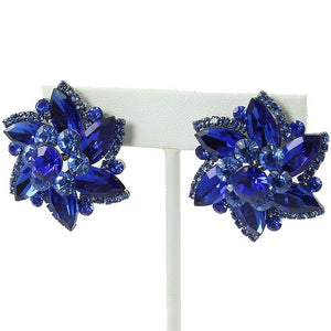"Blue Flower Clip On Earrings with Gold Accents 1.25"" ( 1182 )"