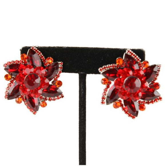 Red Flower Clip On Earrings with Gold Accents 1.25