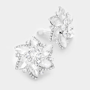 Silver Clear Flower Clip On Earrings 1.25""