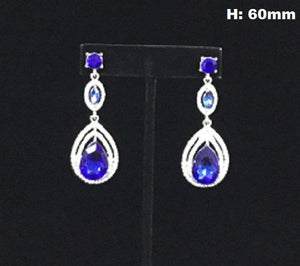 Double Drop Royal Blue Rhinestone Chandelier Earrings