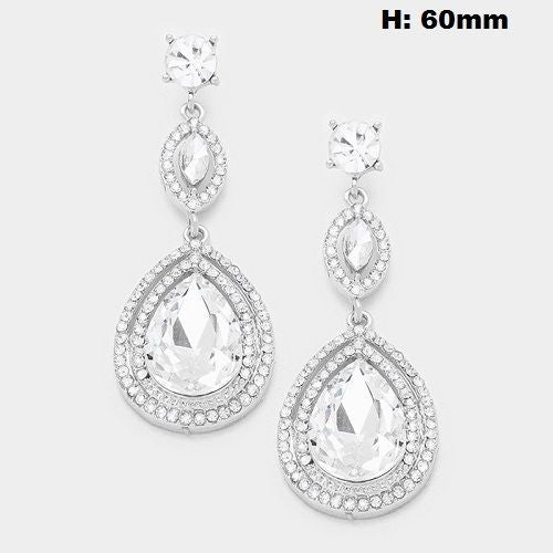 Double Drop Silver Clear Rhinestone Chandelier Earrings