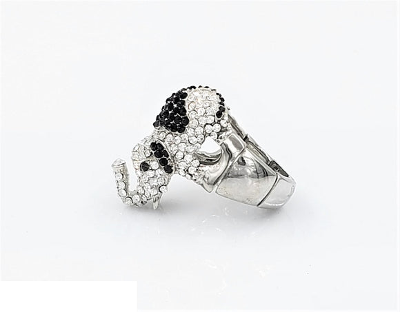 SILVER ELEPHANT STRETCH RING CLEAR BLACK STONES ( 1824 3CL )
