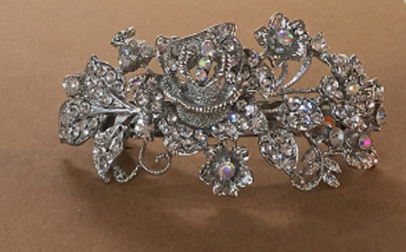 Silver Floral Hair Clip with Clear and AB Rhinestones ( 2002 )