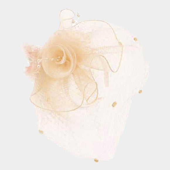 IVORY NET PEARL FLOWER FEATHER DESIGN FASCINATOR ( 2218 )