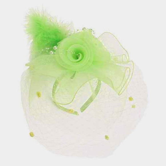 LIME GREEN NET PEARL FLOWER FEATHER DESIGN FASCINATOR ( 2218 )