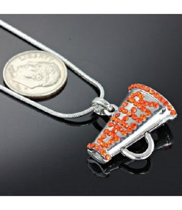 Orange Rhinestone Megaphone CHEER Cheerleader Charm Necklace ( 11791 )