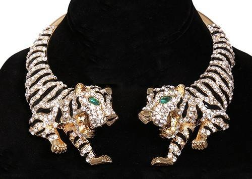 Gold and Black Enamel Tiger Statement Necklace with Clear Rhinestones ( 14004 2CL )