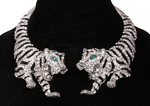 Silver and Black Enamel Tiger Statement Necklace with Clear Rhinestones ( 14004 3CL )