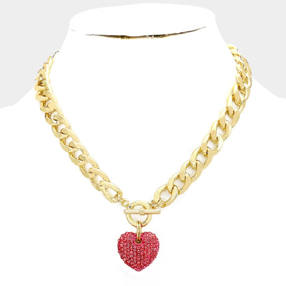 Gold RED Rhinestone Heart Charm Toggle Necklace ( 1442 )
