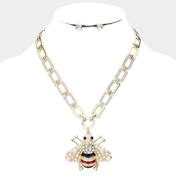 RECTANGLE CHAIN STONE GOLD BEE NECKLACE SET ( 2724 GDCL ) - Ohmyjewelry.com