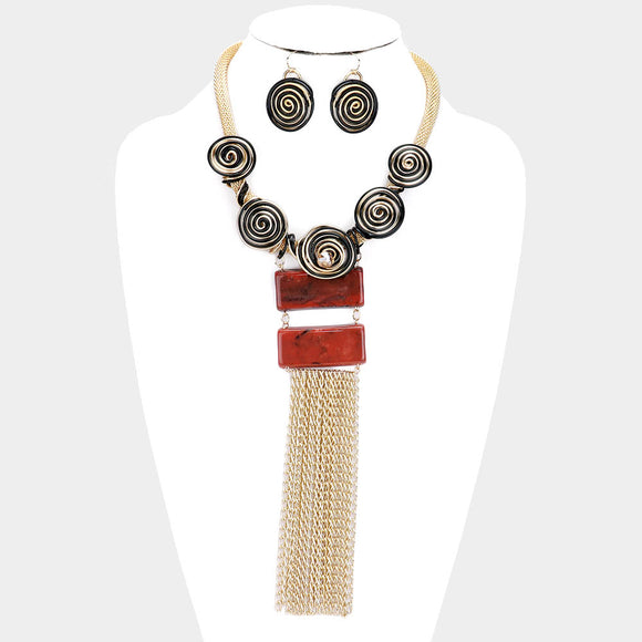 GOLD COIL WIRE CHAIN FRINGE BIB NECKLACE SET ( 3339 )