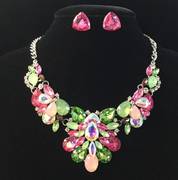 Pink, Green, and AB Rhinestone Necklace Set with Silver Accents ( 14165 )