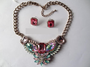 Pink and Green Irridescent Rhinestone Evening Formal Necklace Set