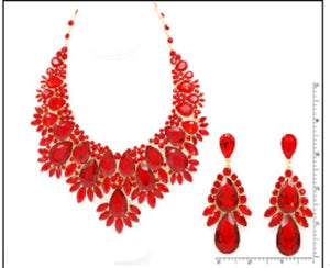 Large Red Stone Formal Evening Necklace Set