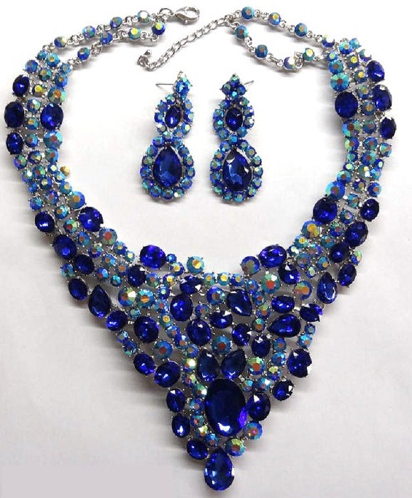 SILVER NECKLACE SET WITH ROYAL BLUE RHINESTONES ( 14337 )