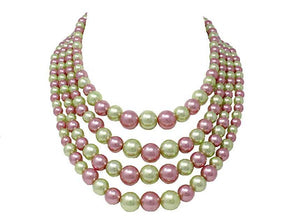 4 Line Pink and Green Pearl Necklace Set ( 6394 )