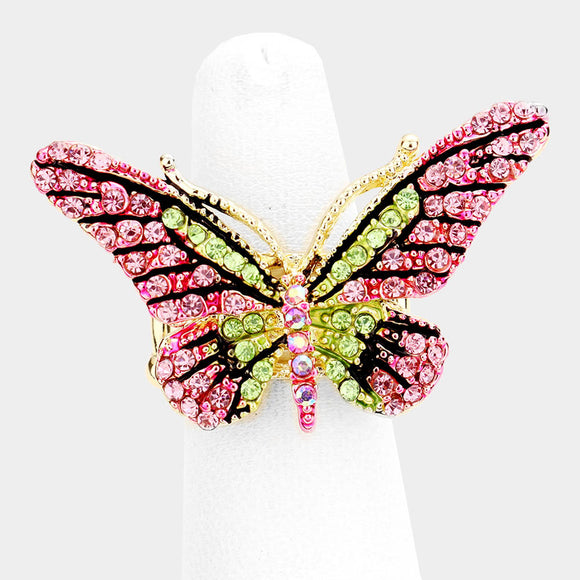 GOLD BUTTERFLY STRETCH RING WITH PINK AND GREEN STONES ( 1032 )