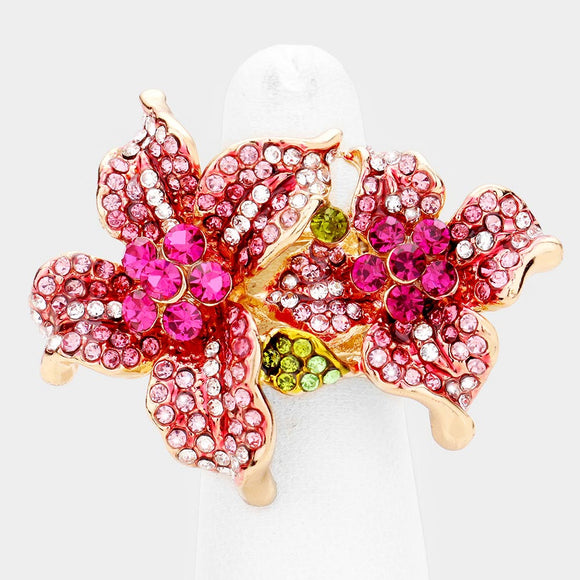 FUCHSIA AND PINK BLOOMING FLOWER STRETCH RING ( 1256 )