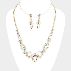 Gold Clear Rhinestone Necklace Set with Matching Earrings ( 1007 )
