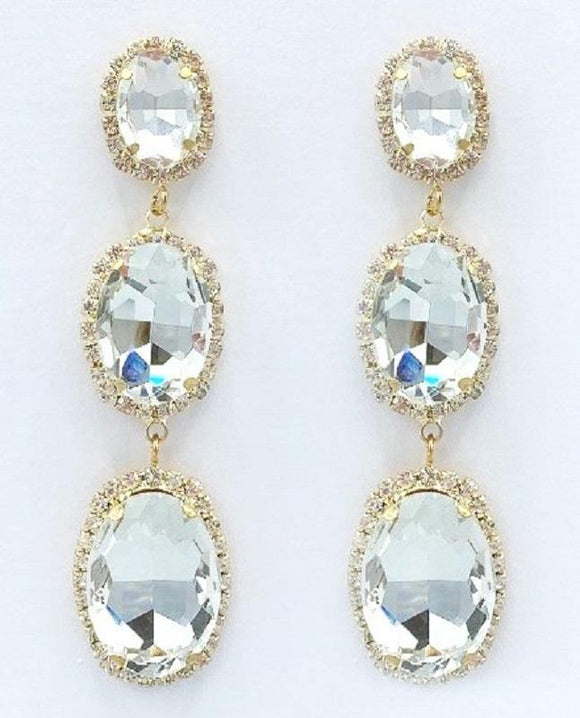 DANGLING GOLD EARRINGS WITH CLEAR STONES ( 2131 )