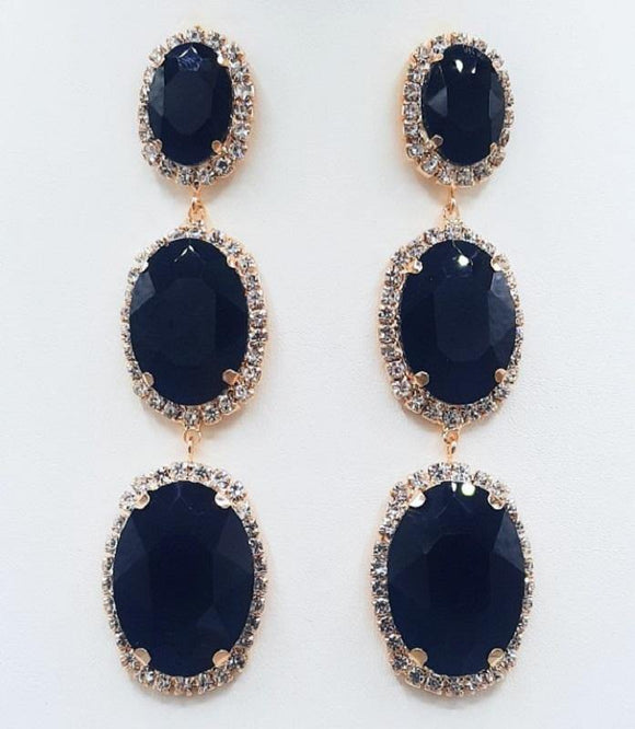 DANGLING GOLD EARRINGS WITH CLEAR AND BLACK STONES ( 2131 )