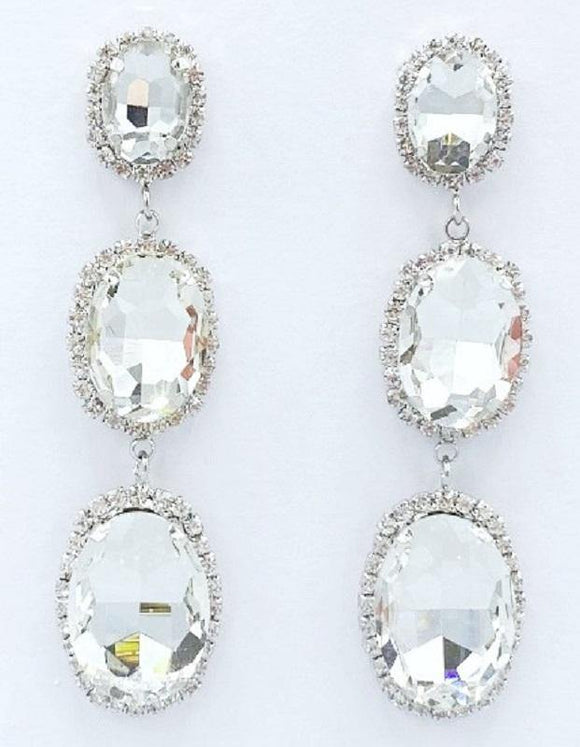 DANGLING SILVER EARRINGS WITH CLEAR STONES ( 2131 )