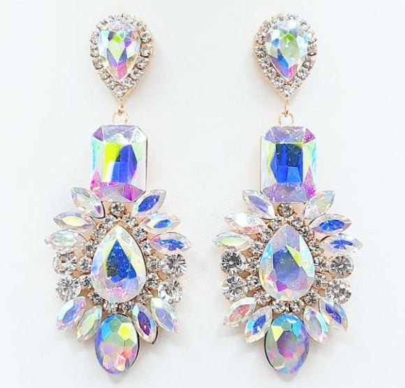 GOLD EARRINGS CLEAR AB STONES ( 2209 GDABCRY ) - Ohmyjewelry.com
