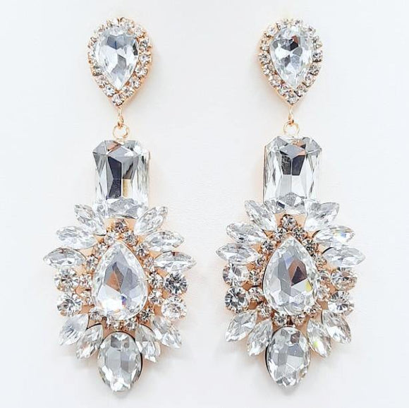 GOLD EARRINGS CLEAR STONES ( 2209 GDCRY )
